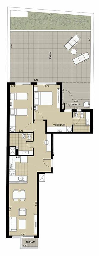 Napali - Plano 2 dormitorios Unidad 102