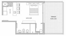 Monoambiente Penthouse a Estrenar en el Centro con 15 m2 de Terraza