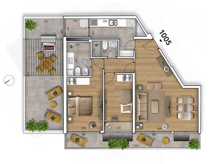 Lyra Plano 2 Dormitorios penthouse 1005