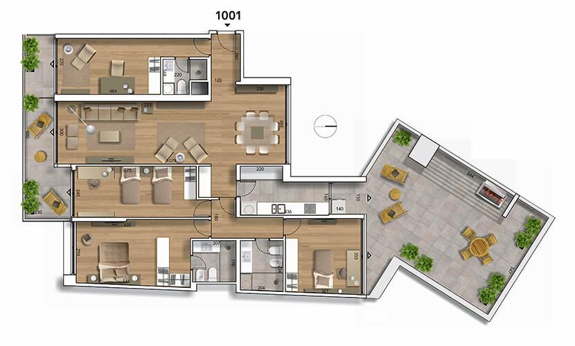 Lyra plano 4 dormitorios penthouse 1001