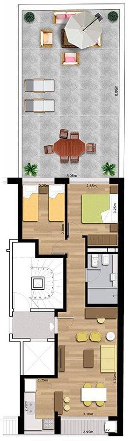 pindó 2 dormitorios con patio