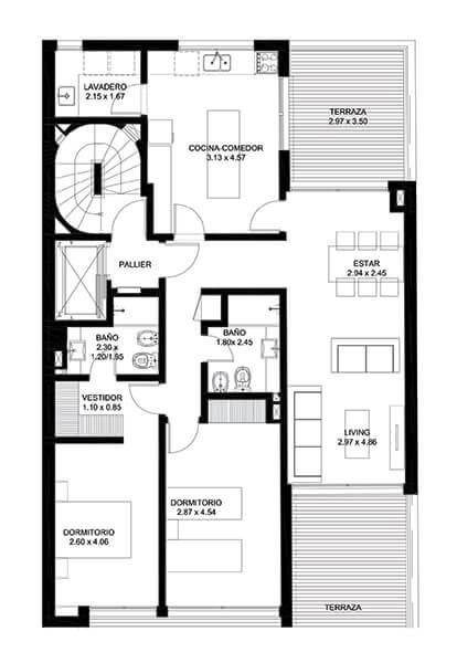 Infinit 2 dormitorios 301 Apartamento 2 Dormitorios en Pocitos