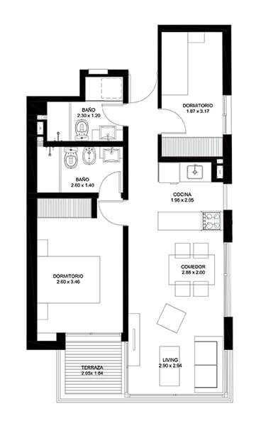 Infinit 2 dormitorios 501 Apartamento 2 Dormitorios en Pocitos