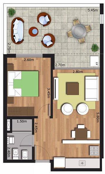 Arrayan 1 dormitorio con patio 008