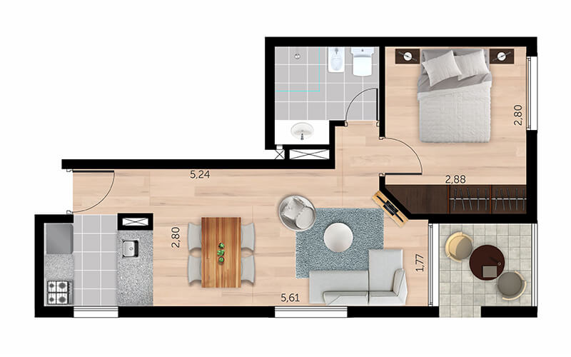 Be Palermo plano de 1 dormitorio 1003