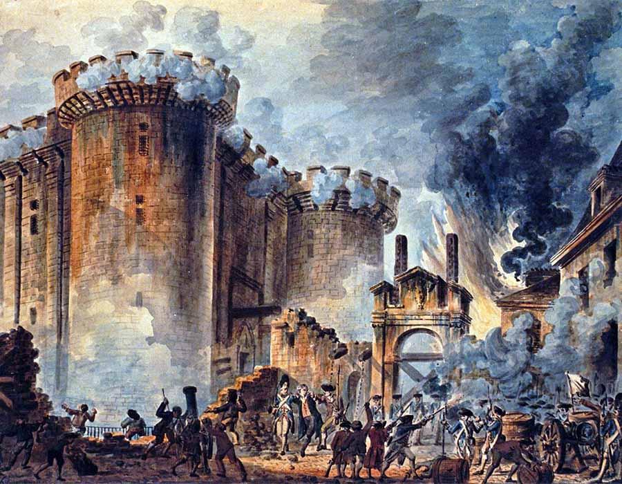 A Tomada da Bastilha, pintura de Jean-Pierre Louis Houël, 1789