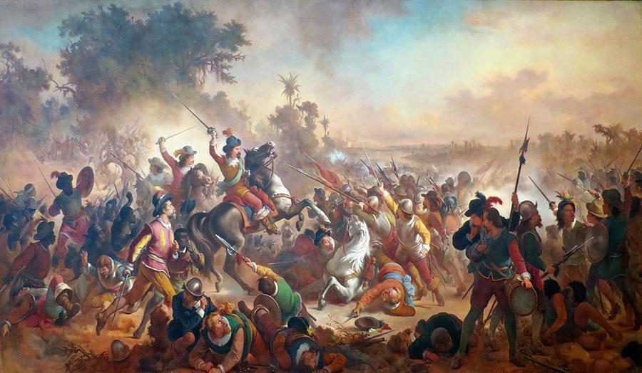 Romantismo;  Victor_Meirelles_-_'Battle_of_Guararapes',_1879,_oil_on_canvas,_Museu_Nacional_de_Belas_Artes,_Rio_de_Janeiro_2