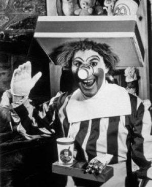 A imagem do original Ronald McDonald em 1963.