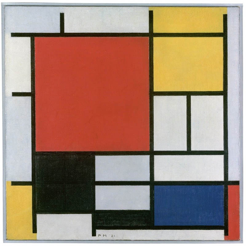 Piet Mondrian   Composition with Large Red Plane, Yellow, Black, Grey and Blue, 1921