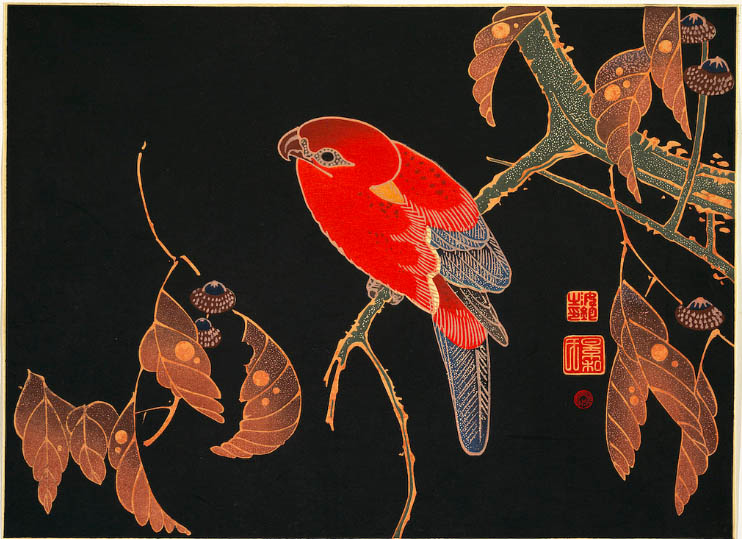 Red Parrot on the Branch of a Tree: Itō Jakuchū