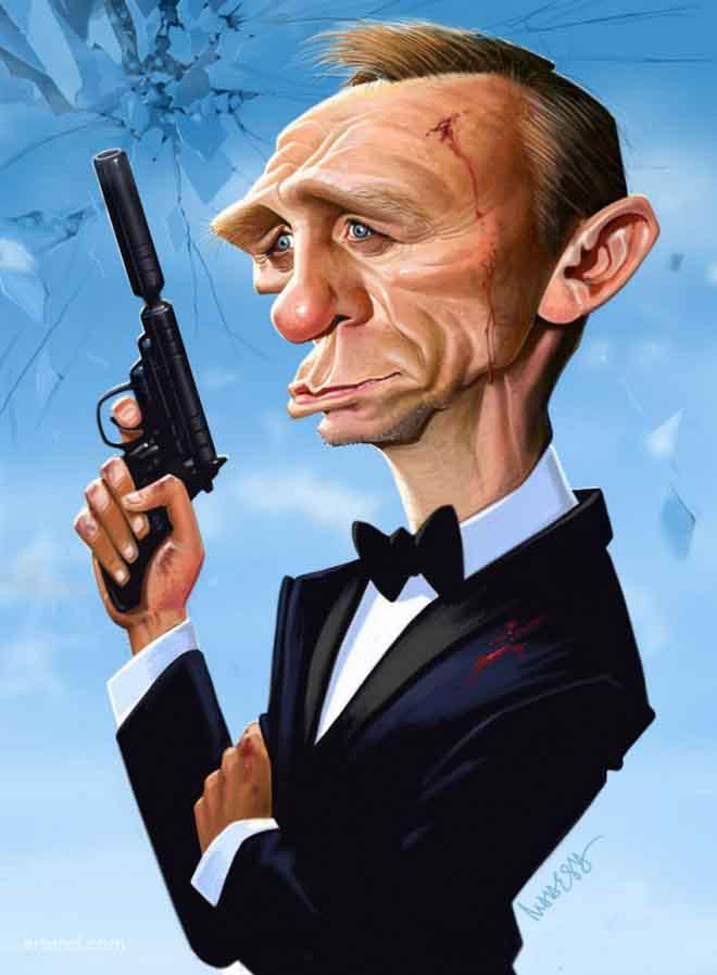 caricaturas de pessoas famosas; Daniel-craig-caricature-by-mahesh