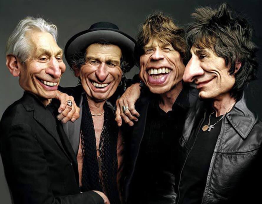 caricaturas de pessoas famosas; Rolling-Stones-Caricatura-Rodney-Pike-