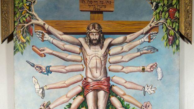 arte queer; Jesus crucificado com os múltiplos braços da deusa do hinduísmo