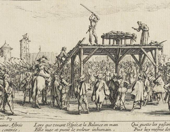 """gravura Detalhe de """"A Roda"""" de Jacques Callot"""