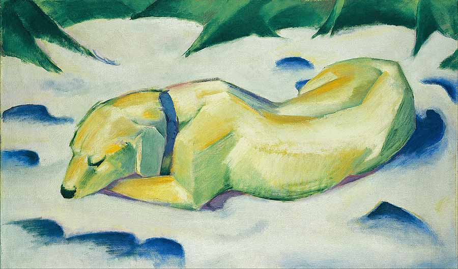Franz_Marc_-_Dog_Lying_in_the_Snow_-_Google_Art_Project