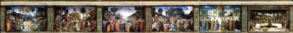 Cenas do Novo Testamento representadas na parede norte. Cappella Sistina, Palazzi Pontifici, Vatican, Itália.