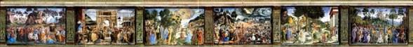 Cenas do Velho Testamento representadas na parede sul. Cappella Sistina, Palazzi Pontifici, Vatican, Itália.