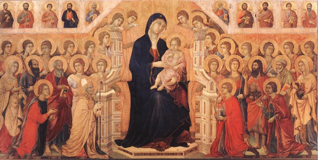 trecento; Duccio di Buoninsegna, Maesta Altarpiece, about 1308-1311, gold and tempera on panel, 370 x 450 cm, Siena, Museo dell'Opera del Duomo