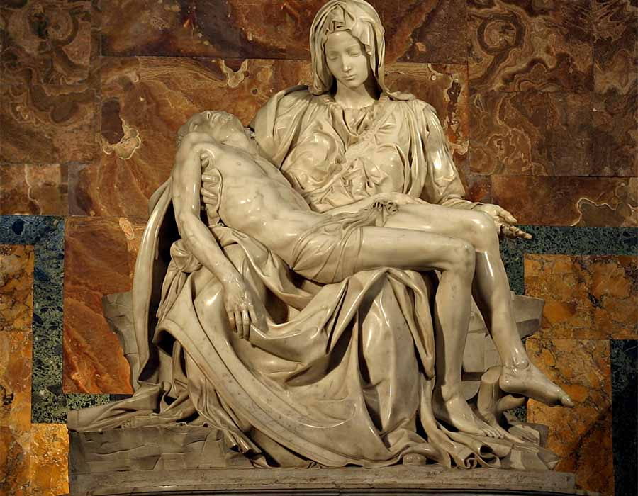 MICHELANGELO (1475-1564) Pietá[1], ca. 1499. Escultura em Mármore, 1,74×1,95 metros. Basilica di San Pietro, Vaticano, Itália.; o que é arte