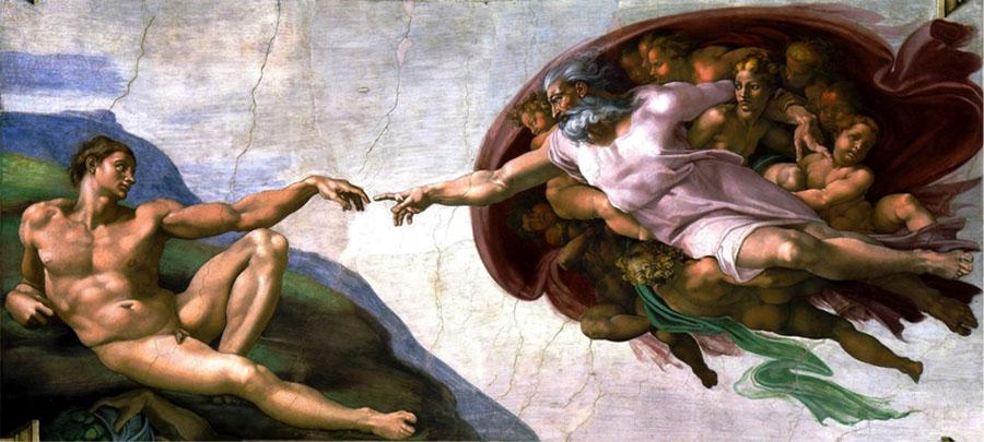 MICHELANGELO (1475-1564) DETALHE: Criação do Homem. Fresco, 1508-1512. Cappella Sistina, Palazzi Pontifici, Vatican, Itália.