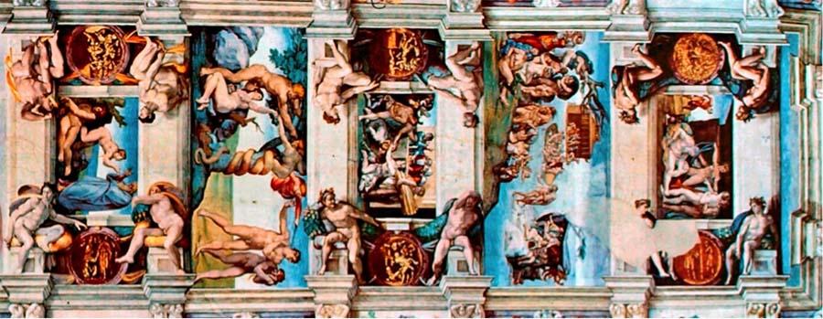 MICHELANGELO (1475-1564) DETALHE: Da esquerda para à direita: Criação da Mulher; Expulsão de Adão e Eva do Paraíso; Sacrifício de Noé; Dilúvio e Embriaguez de Noé. Fresco, 1508-1512, Palazzi Pontifici, Vatican, Itália.