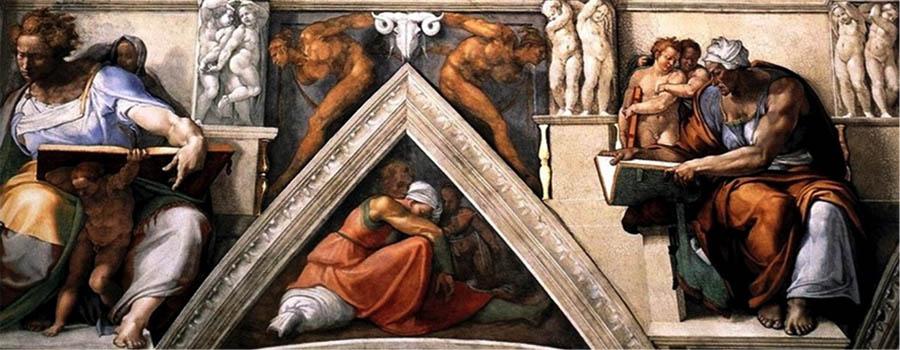 MICHELANGELO (1475-1564) DETALHE: Sibilas e Profetas. Fresco, 1508-1512. Cappella Sistina, Palazzi Pontifici, Vatican, Itália.