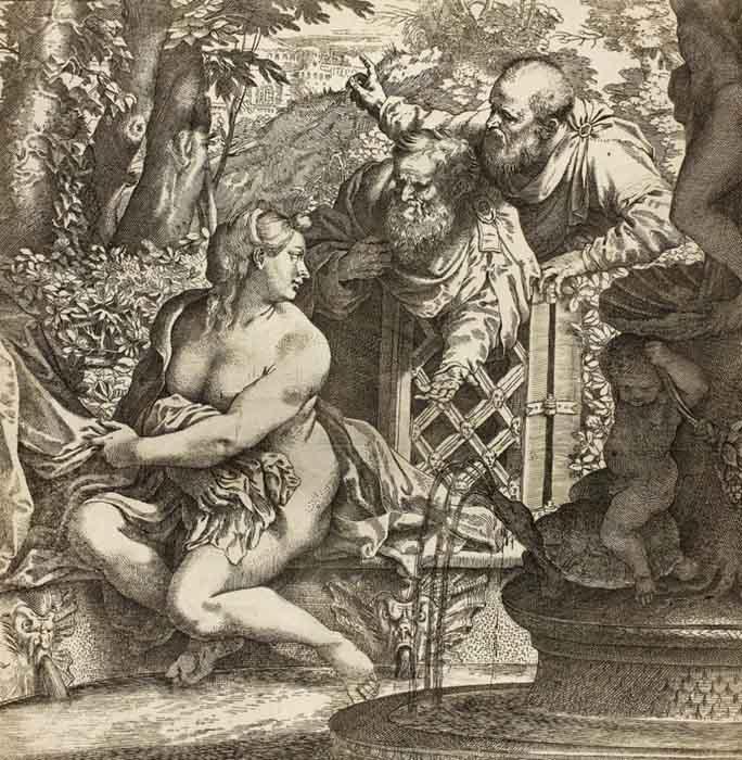 barroco na itália; Annibale CARRACCI (1560-1609) Susana4 e os anciões, 1590-1595. Gravura sobre papel marfim, 32,4x31,4. Bartsch5 180 I. Art Institute Chicago, Chicago, EUA.