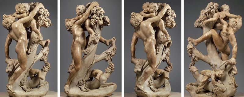 Gian Lorenzo BERNINI (1598-1680) e Pietro Bernini (1562–1629) Bacanal: Um Fauno provocado por crianças, 1616-17. Escultura em mármore, 132.4×73.7×47.9. The Metropolitan Museum of Art, Nova York, EUA.
