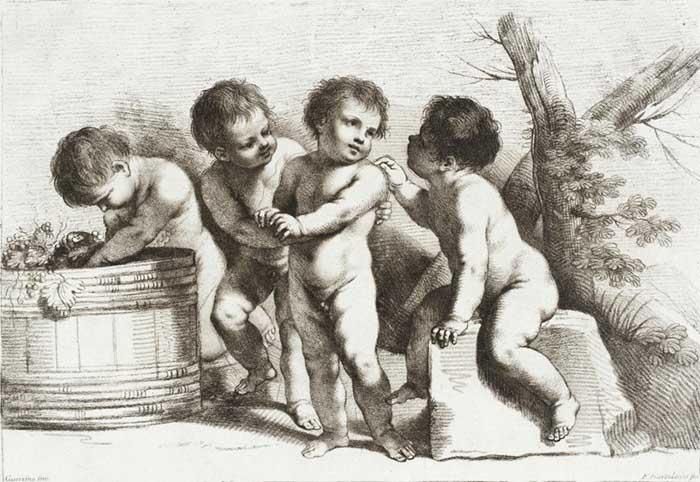 Graça e beleza no Barroco italiano; Francesco BARTOLOZZI (1727-1815) depois de Giovanni Francesco Barbieri, chamado de GUERCINO (1591-1666) Quatro Putti, ca. 1780. Gravura, giz de cera, 20.32×29.53. Los Angeles County Museum of Art, Los Angeles, EUA.