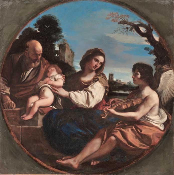 Giovanni Francesco Barbieri, chamado de GUERCINO (1591-1666) Descanso durante a fuga para o Egito, 1624. Óleo sobre tela, Tondo,68.5 cm de diâmetro. The Cleveland Museum of Art. Cleveland, EUA.