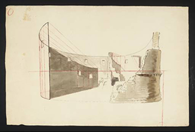 Cubismo - A Ruined Amphitheatre circa 1810-27 by Joseph Mallord William Turner 1775-1851