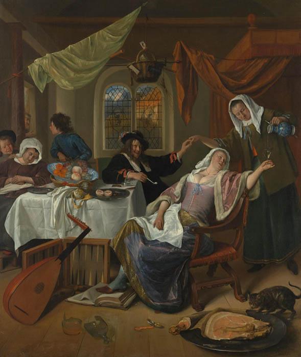 Cenas de gênero na Holanda; Jan Havicksz. STEEN (ca. 1626-1679) A Família dissoluta, ca. 1663–64. Óleo sobre tela, 108x90.2. The Metropolitan Museum of Art, Nova York, EUA.