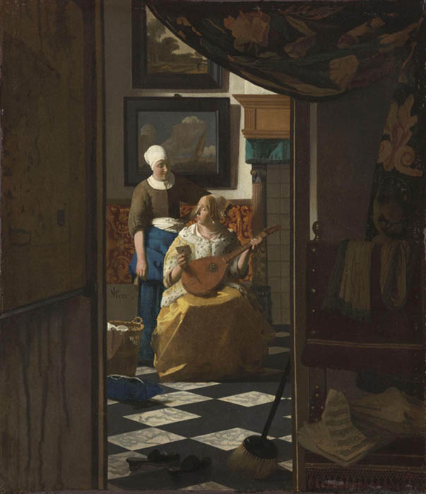 Cenas de gênero na Holanda; Johannes VERMEER (1632-1675) A Carta de amor, ca. 1669-1670. Óleo sobre tela, 44x38.5. Rijksmuseum, Amsterdam, Holanda.