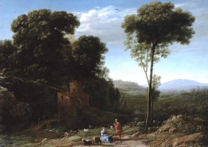 Claude LORRAIN (ca. 1600/5-1682) Paisagem pastoral com um moinho, 1634. Óleo sobre tela, 59.06×82.87. Los Angeles County Museum of Art, Los Angeles, EUA.