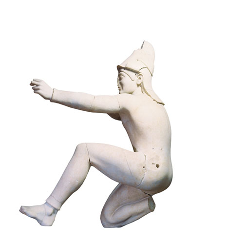 Uma escultura que se pensa ser Paris, o príncipe troiano que matou Aquiles, ca. 500 a.C. Cortesia de Glyptothek München