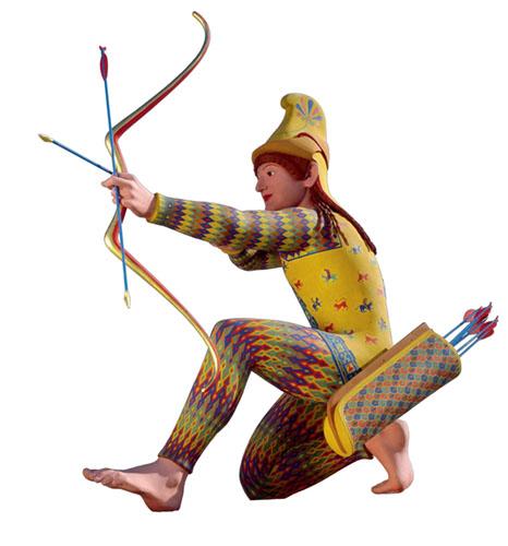 Uma reconstrução de cores da escultura, da exposição Deuses em Cores. Nesta reconstrução, Paris veste o traje dos citas, uma tribo da Ásia Central. Cortesia Liebieghaus Skulpturensammlung