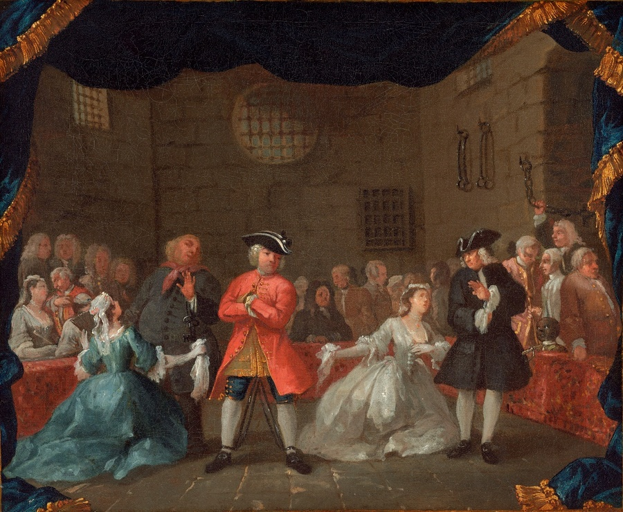 William HOGARTH (1697-1764) Uma cena da Ópera do Mendigo ,1728/1729. Óleo sobre tela, 51.1x61.2. National Gallery of Art, Washington, EUA.