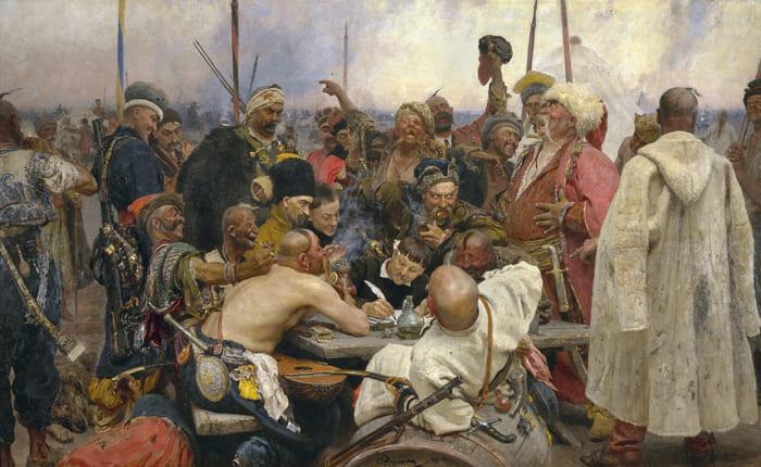 """""""Os cossacos de Zaporozhye em resposta ao sultão"""", Ilya Repin, 1891, Óleo sobre Tela, 217 x 361 cm, Russian Museum, St Petersburg"""