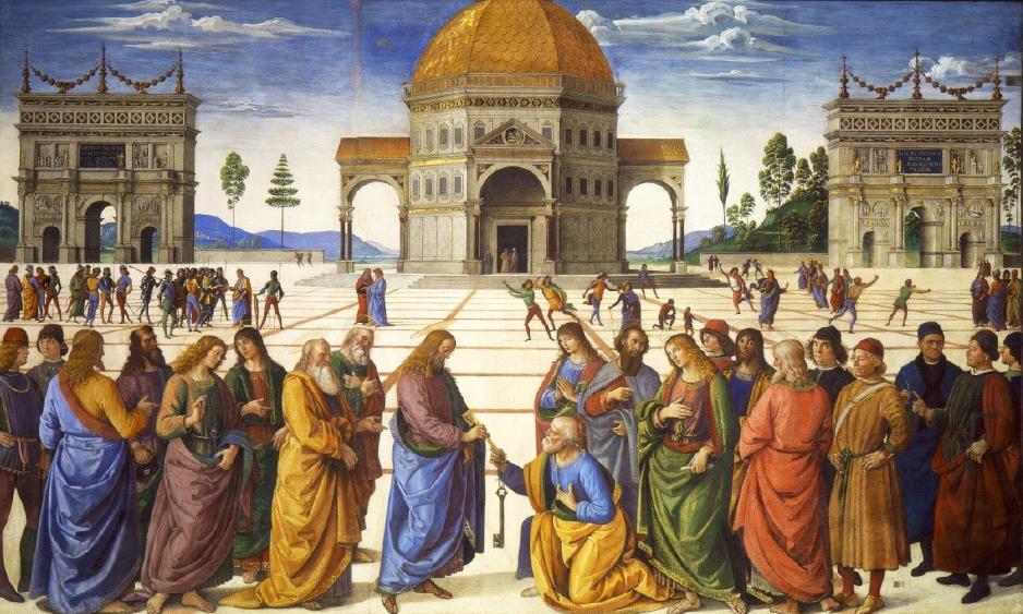"""""""A Entrega das Chaves"""". Pietro Perugino, 1481, Afresco, 330 x 550 cm, Capela Sistina, Vaticano"""
