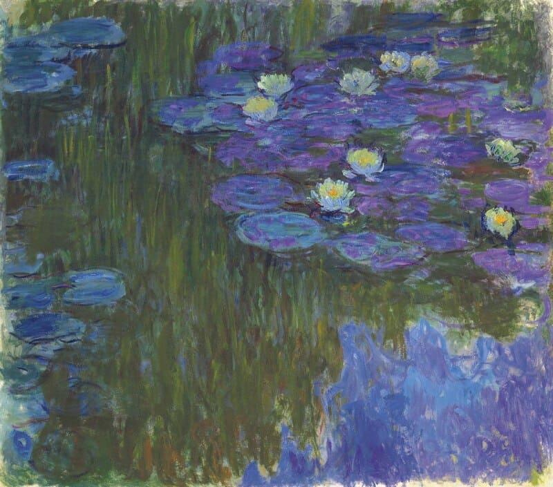 """Nympheas en fleur"""". Claude Monet, 1914– 17. Óleo sobre tela. 160 x 180 cm. Coleção Privada."""
