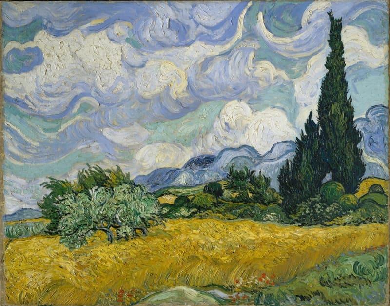 Campo de trigo com ciprestes. Vincent Van Gogh, 1889.  Óleo sobre Tela, 73 x 93,4 cm. Metropolitan Museum of Art.
