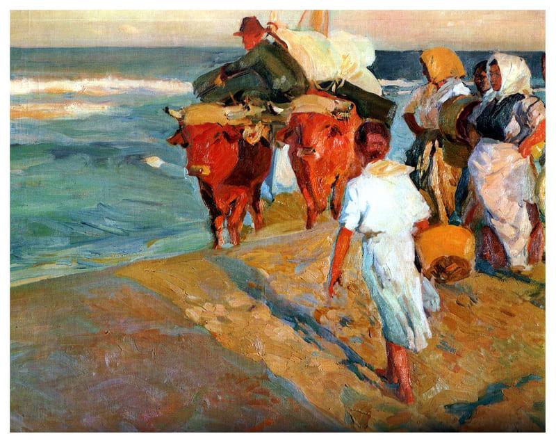 Tirando o barco. Joaquim Sorolla, 1916.  Óleo sobre Tela, 100 x 120 cm. Coleção Privada.