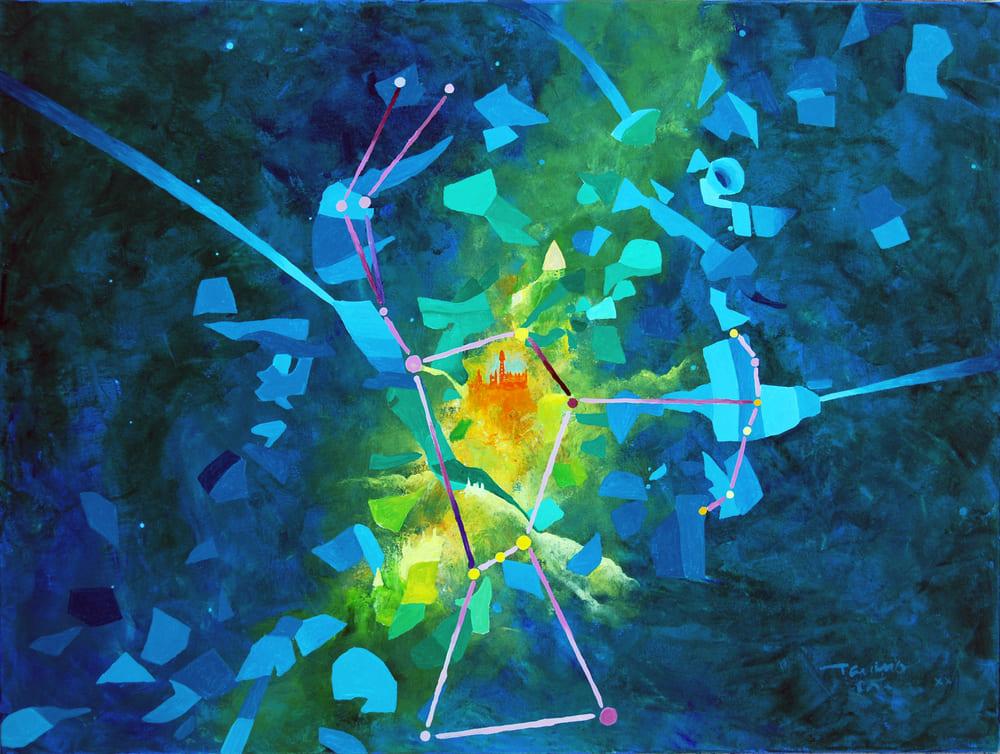 Tarcisio Costa. Constelação de Órion 2020 - Acrílico sobre tela - 60 x 80 cm