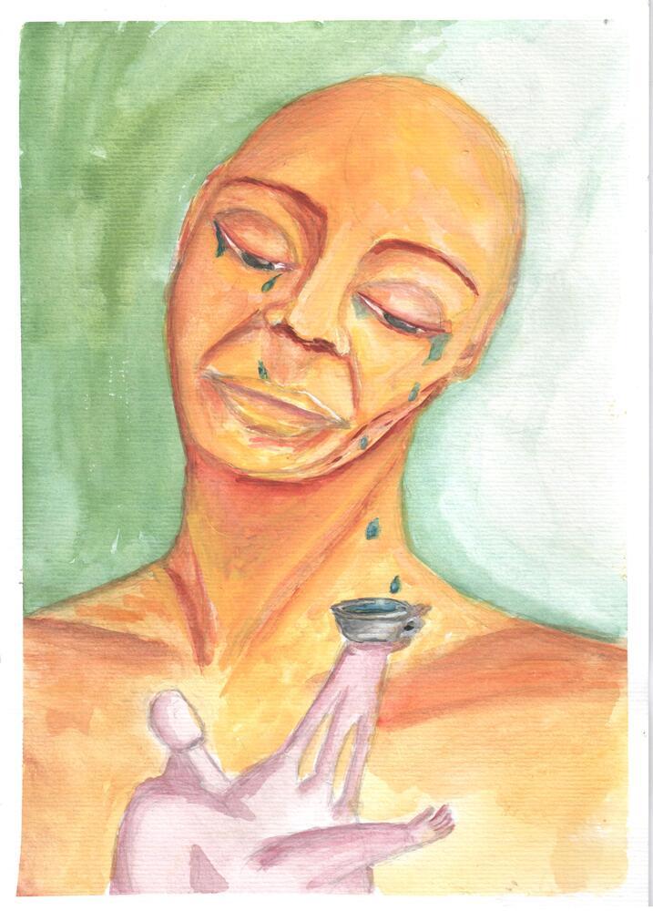 Amor mendigo -aquarela em papel de aquarela