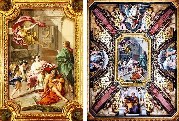 Neoclassicismo; Anton Raphael MENGS (1728-1779) em colaboração com Cristoforo Unterperge (1732-1798) O triunfo da história ao longo do tempo, 1772-1773. Fresco no teto da Sala dei Papiri do Museo Cristiano/Musei Vaticani, Itália.