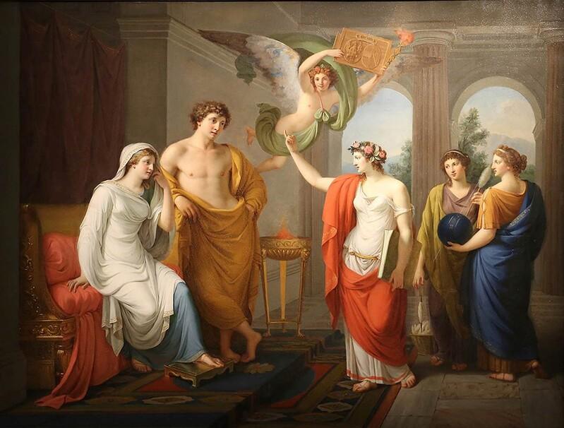Poemas épicos; Giuseppe Gaudenzio MAZZOLA (1748-1838) Casamento de Peleu e Tétis, 1789. Óleo sobre tela, 85,5x114,5. Musei Reali di Torino, Galleria Sabauda.  Turim, Itália.