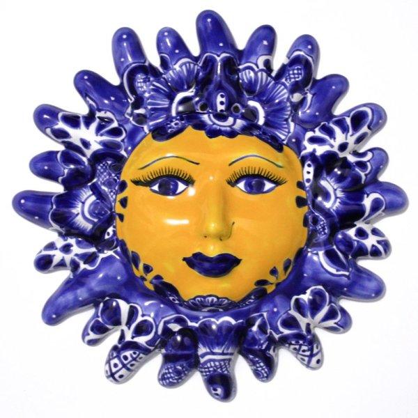 Sol de talavera decorativo para pared color azul
