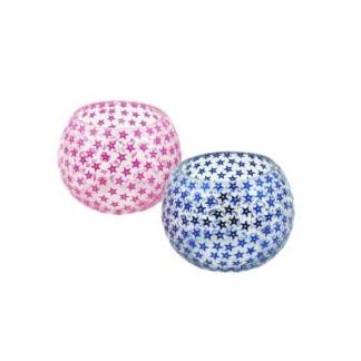 Portavelas Cristal Color Azúl y Rosa