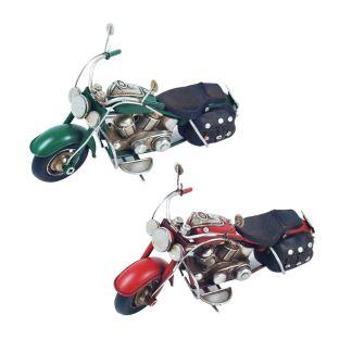 Motocicleta de hojalata y resina decoración