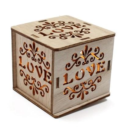 Cajitas de madera luz led Love